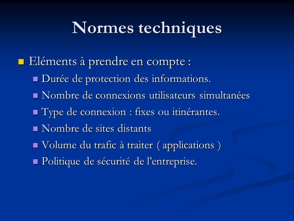 Normes techniques Eléments à prendre en compte :