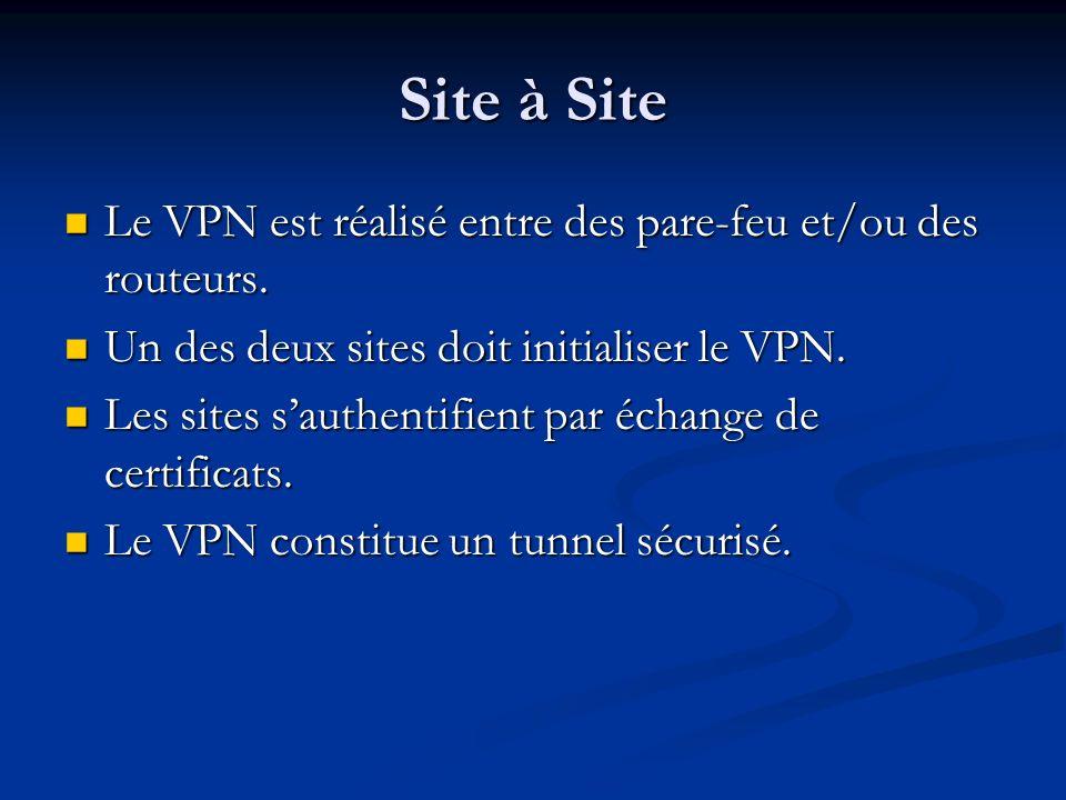 Site à Site Le VPN est réalisé entre des pare-feu et/ou des routeurs.