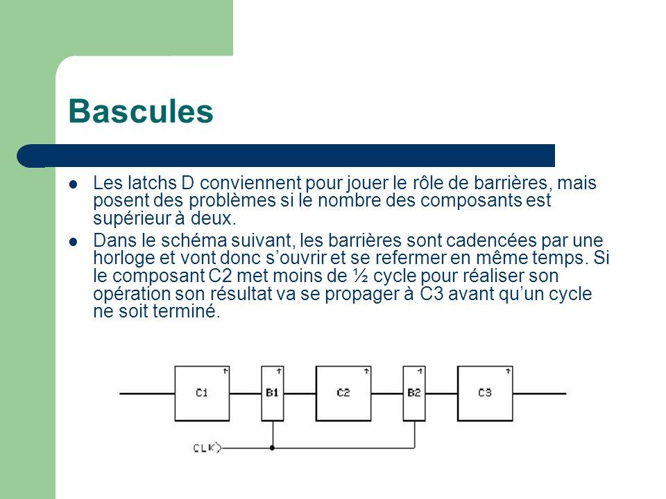 BasculesLes latchs D conviennent pour jouer le rôle de barrières, mais posent des problèmes si le nombre des composants est supérieur à deux.