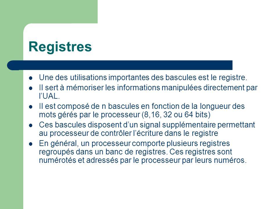 RegistresUne des utilisations importantes des bascules est le registre. Il sert à mémoriser les informations manipulées directement par l'UAL.