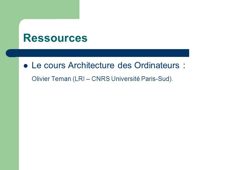 Ressources Le cours Architecture des Ordinateurs :