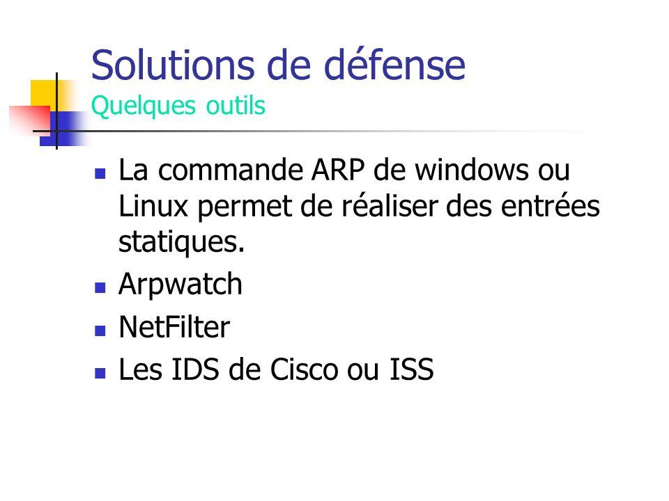 Solutions de défense Quelques outils