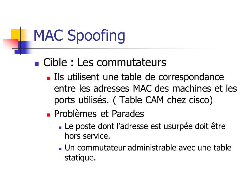 MAC Spoofing Cible : Les commutateurs