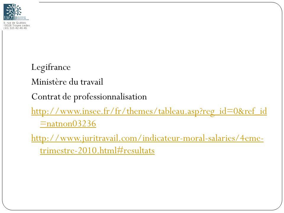 Legifrance Ministère du travail Contrat de professionnalisation http://www.insee.fr/fr/themes/tableau.asp reg_id=0&ref_id =natnon03236 http://www.juritravail.com/indicateur-moral-salaries/4eme- trimestre-2010.html#resultats