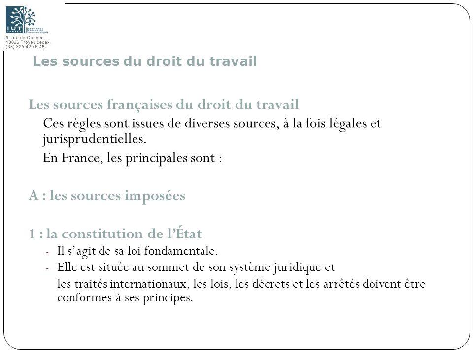 Les sources françaises du droit du travail