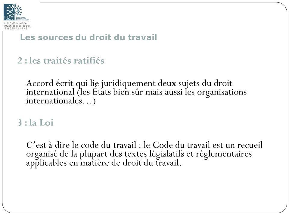 Les sources du droit du travail