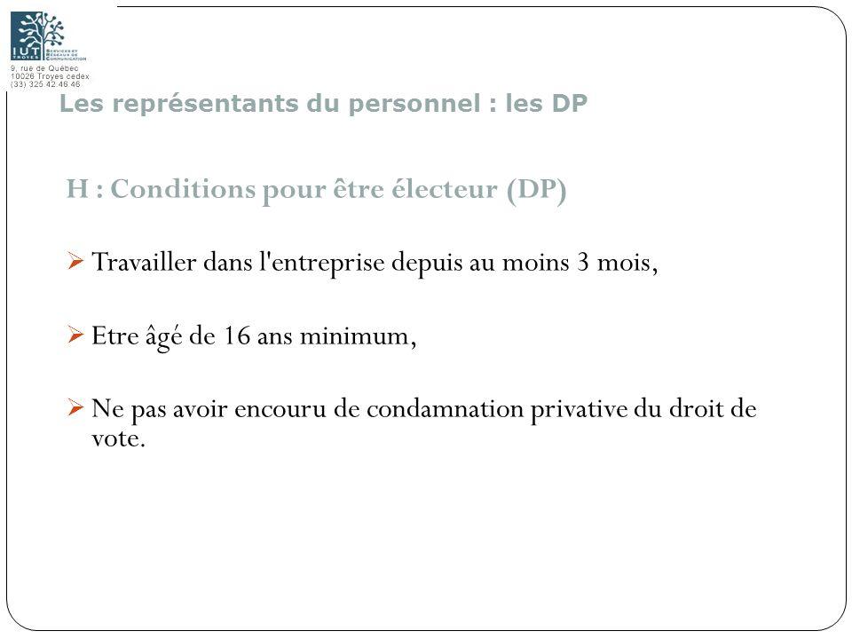 H : Conditions pour être électeur (DP)