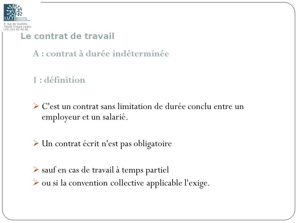 A : contrat à durée indéterminée 1 : définition