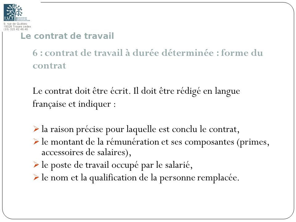 6 : contrat de travail à durée déterminée : forme du contrat