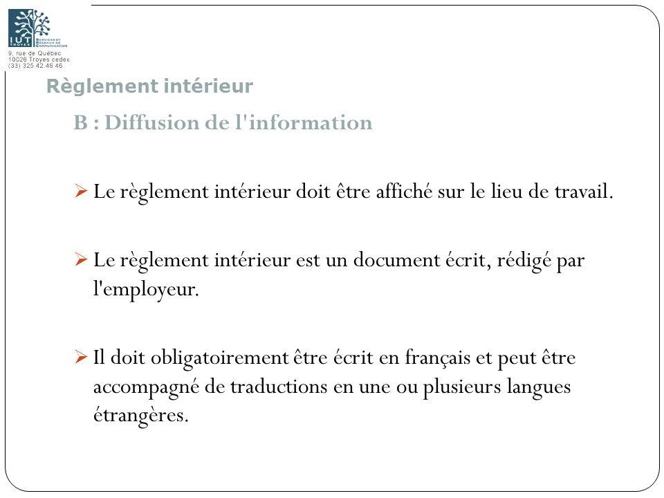 B : Diffusion de l information