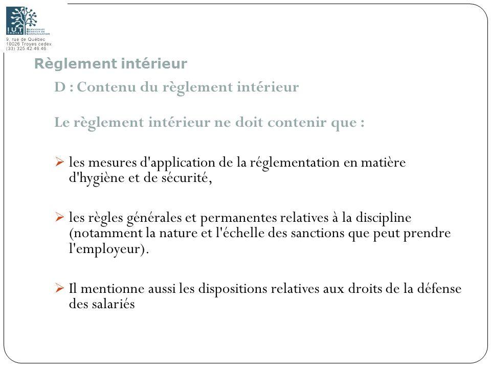 D : Contenu du règlement intérieur