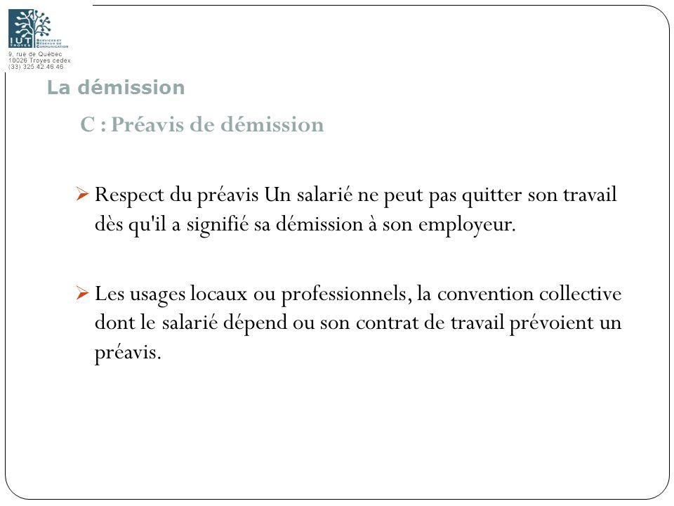C : Préavis de démission