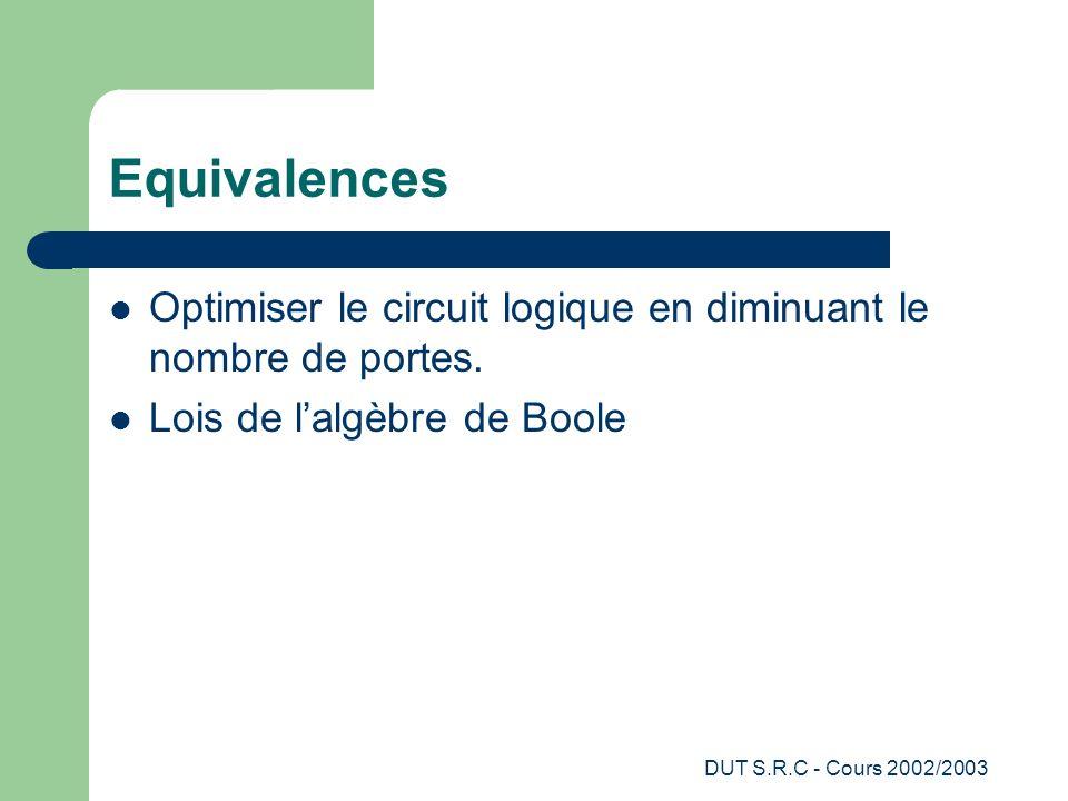 Equivalences Optimiser le circuit logique en diminuant le nombre de portes. Lois de l'algèbre de Boole.