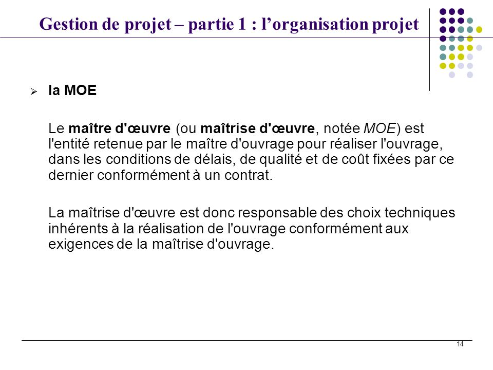 Gestion de projet en src1 ppt video online t l charger for Contrat de maitrise d oeuvre