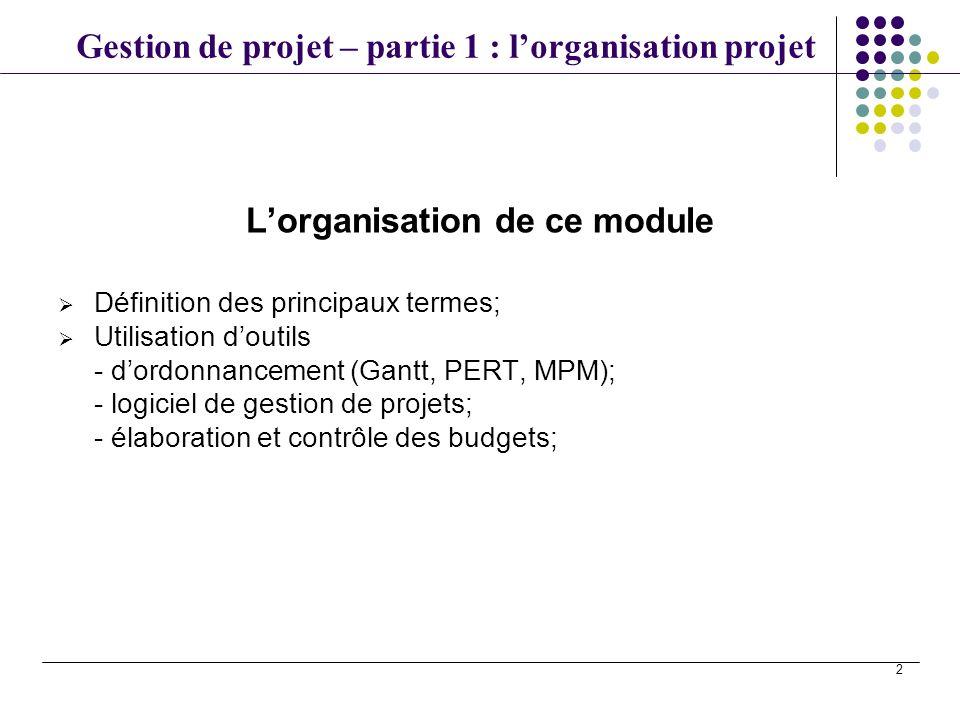 L'organisation de ce module