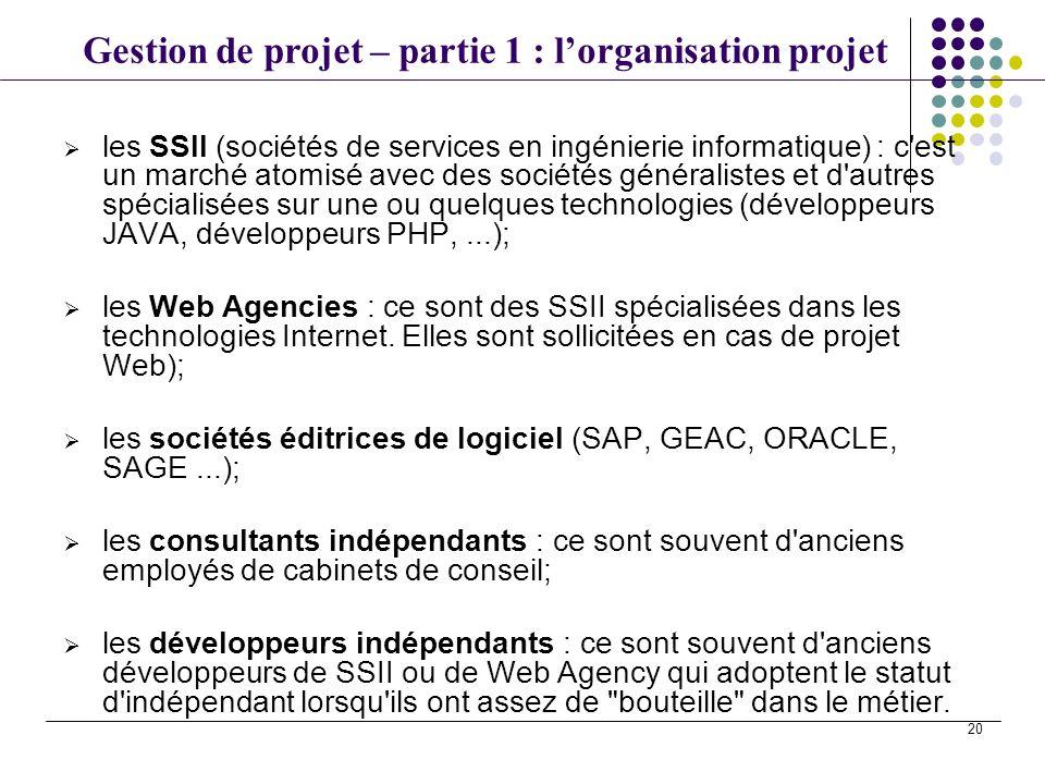 les SSII (sociétés de services en ingénierie informatique) : c est un marché atomisé avec des sociétés généralistes et d autres spécialisées sur une ou quelques technologies (développeurs JAVA, développeurs PHP, ...);