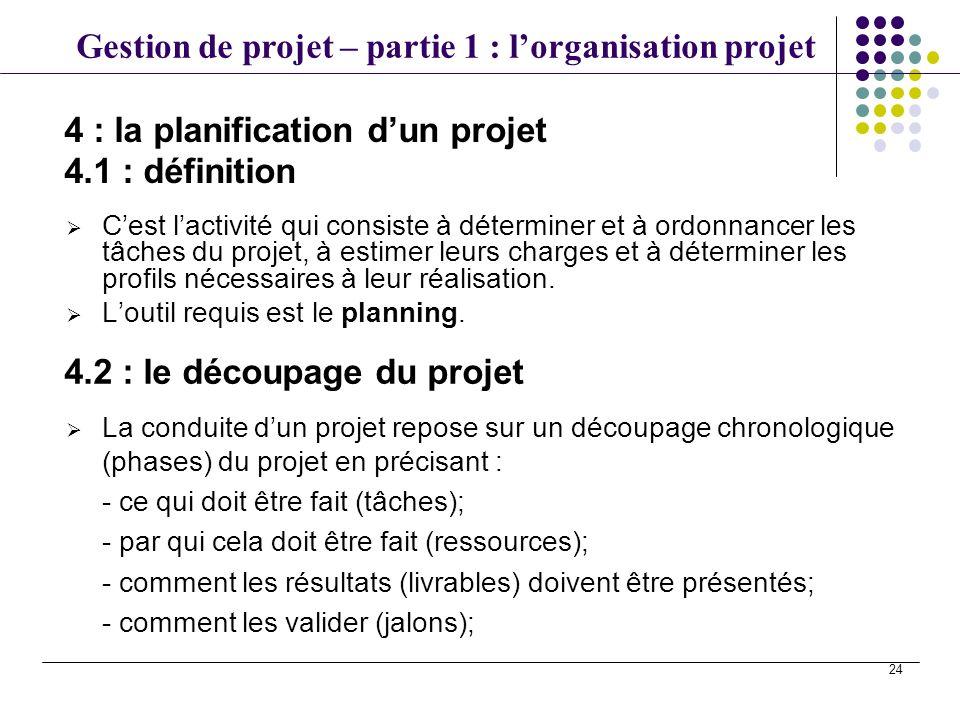 4 : la planification d'un projet 4.1 : définition