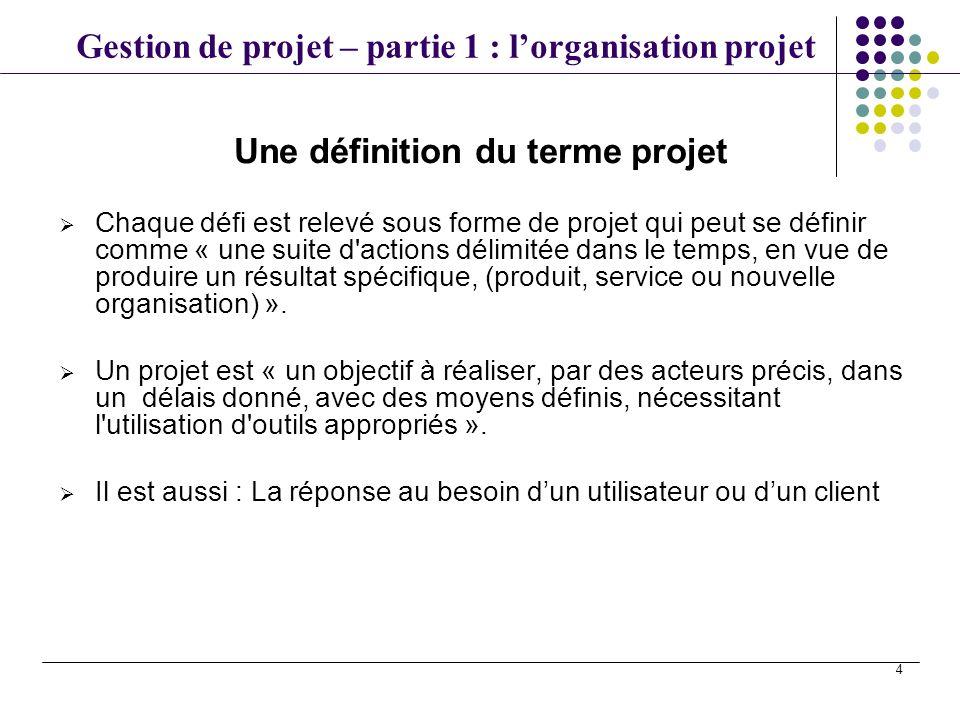 Une définition du terme projet