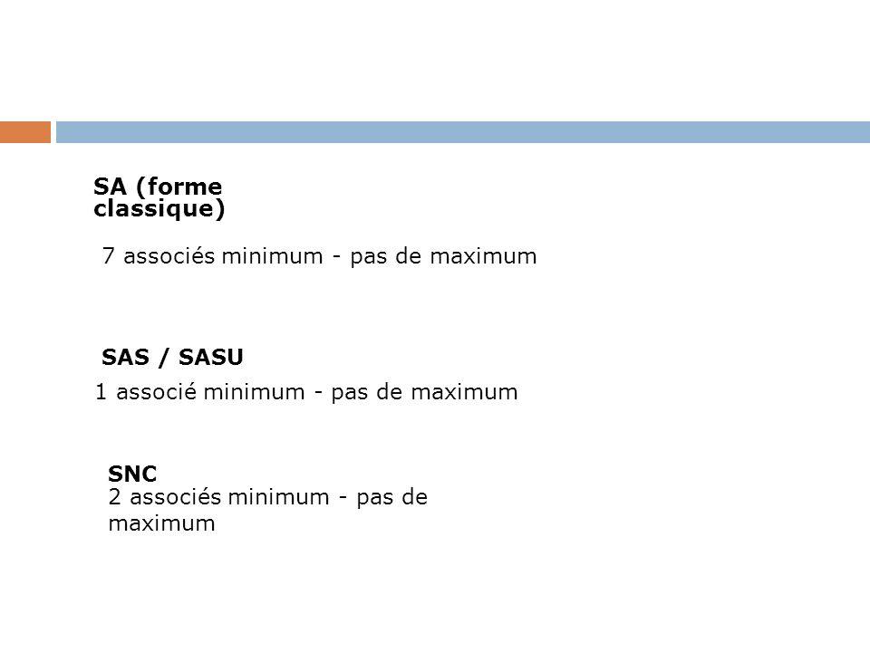 SA (forme classique)7 associés minimum - pas de maximum. SAS / SASU. 1 associé minimum - pas de maximum.