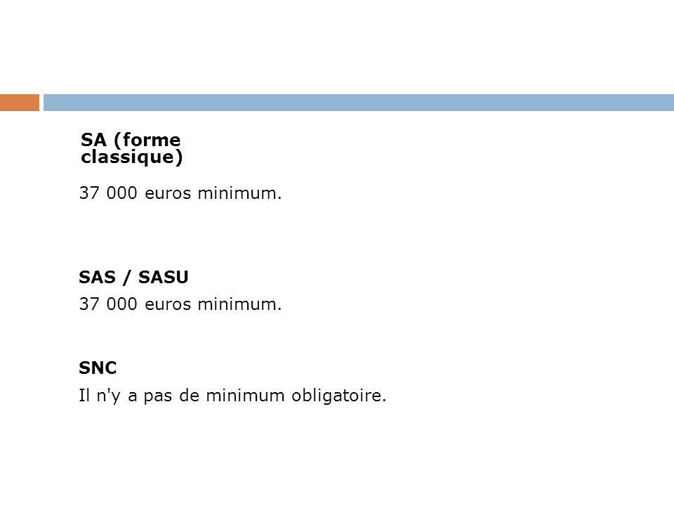 SA (forme classique) 37 000 euros minimum. SAS / SASU.