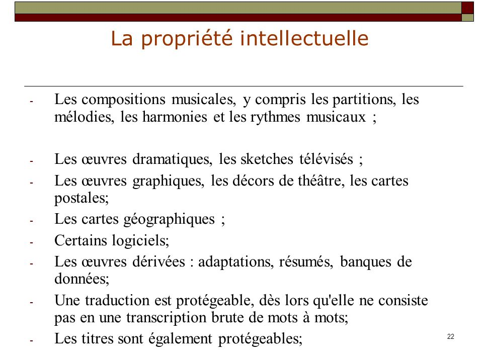 Les compositions musicales, y compris les partitions, les mélodies, les harmonies et les rythmes musicaux ;