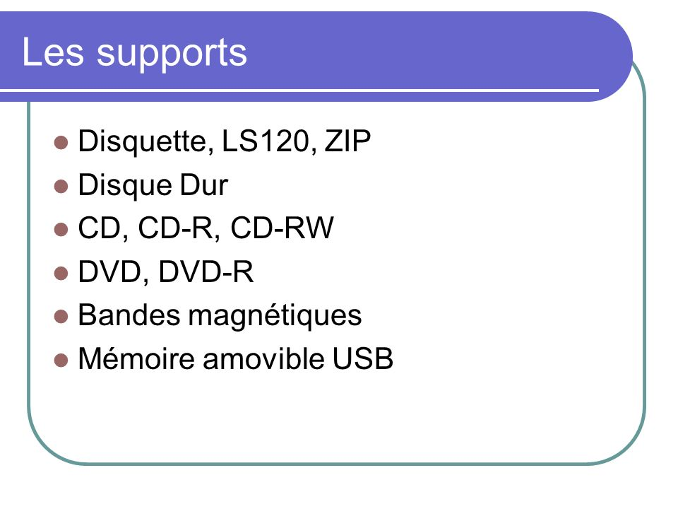 Les supports Disquette, LS120, ZIP Disque Dur CD, CD-R, CD-RW
