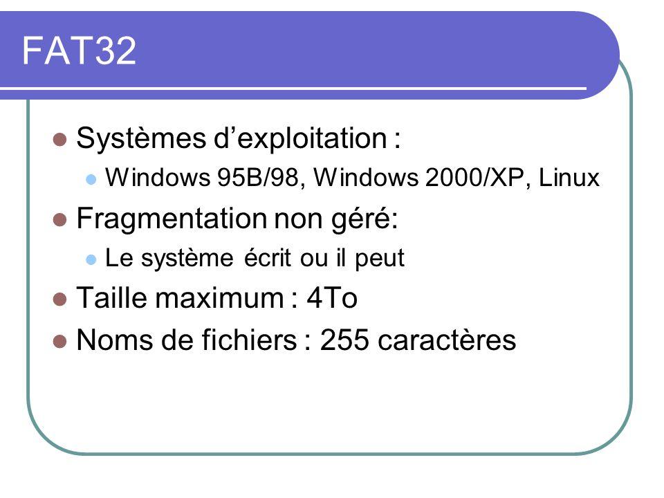 FAT32 Systèmes d'exploitation : Fragmentation non géré: