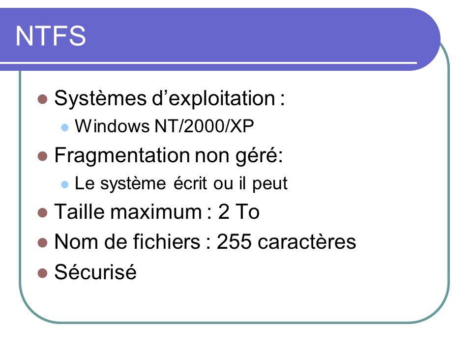 NTFS Systèmes d'exploitation : Fragmentation non géré: