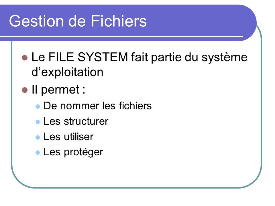 Gestion de Fichiers Le FILE SYSTEM fait partie du système d'exploitation. Il permet : De nommer les fichiers.