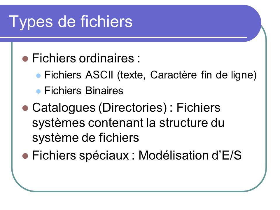 Types de fichiers Fichiers ordinaires :