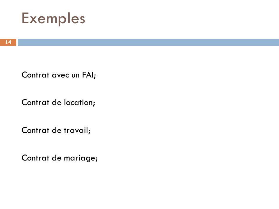 Exemples Contrat avec un FAI; Contrat de location; Contrat de travail; Contrat de mariage;