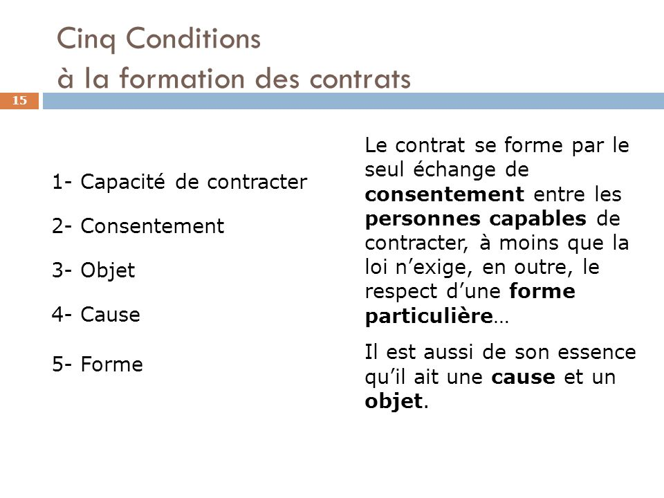 Cinq Conditions à la formation des contrats