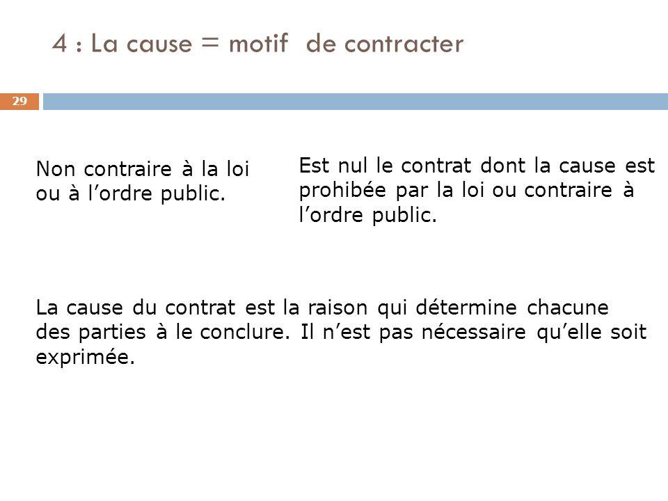 4 : La cause = motif de contracter