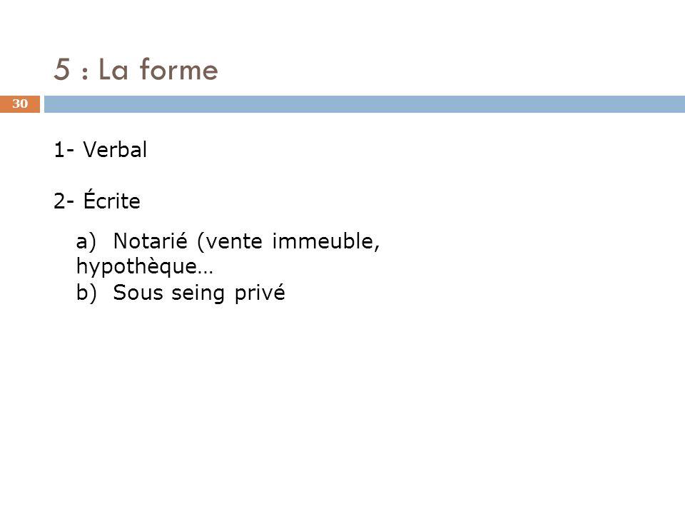 5 : La forme 1- Verbal 2- Écrite
