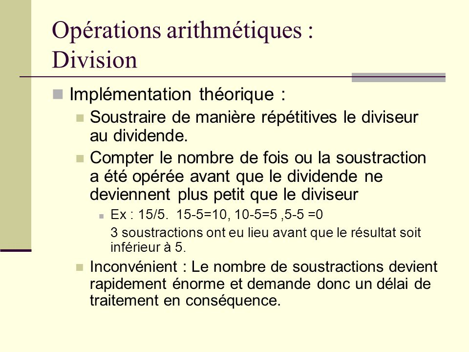 Opérations arithmétiques : Division