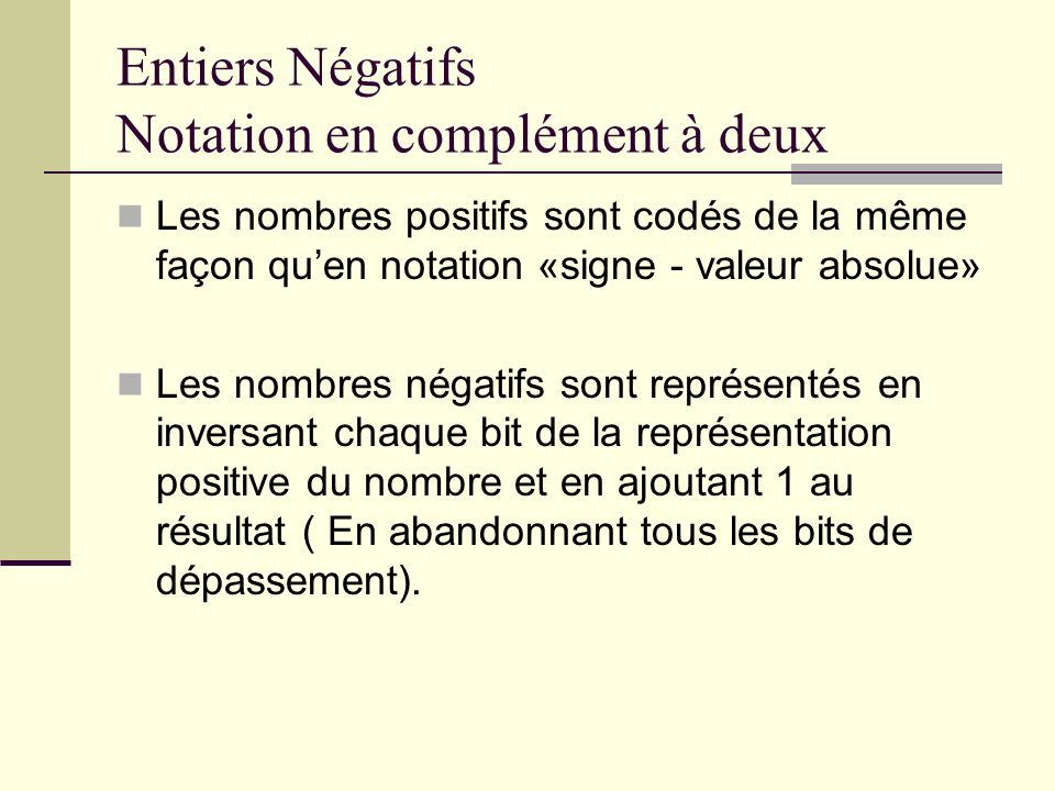 Entiers Négatifs Notation en complément à deux