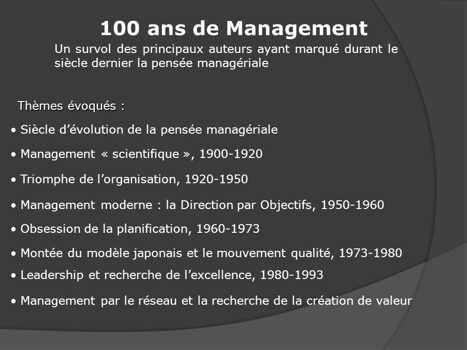 100 ans de Management Un survol des principaux auteurs ayant marqué durant le siècle dernier la pensée managériale.