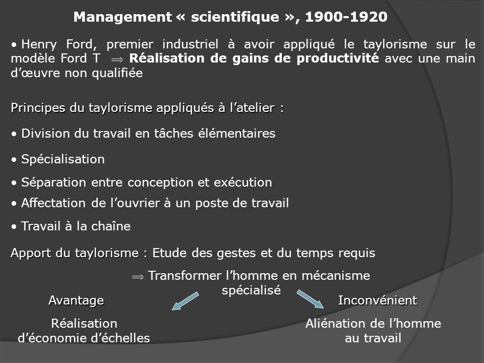 Management « scientifique », 1900-1920
