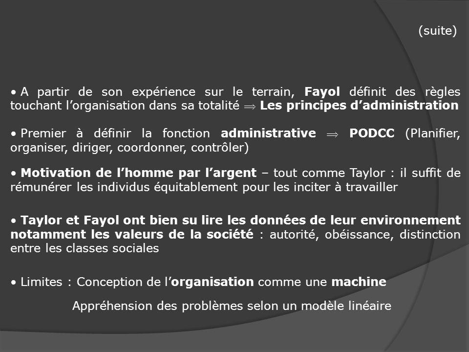 (suite) A partir de son expérience sur le terrain, Fayol définit des règles touchant l'organisation dans sa totalité  Les principes d'administration.