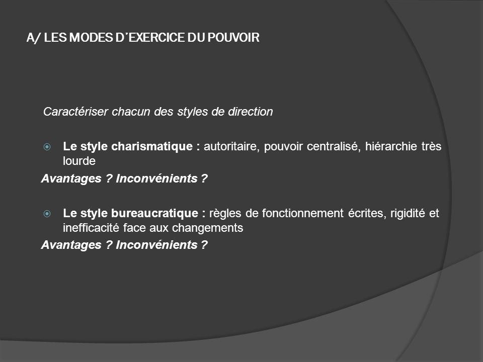 A/ LES MODES D'EXERCICE DU POUVOIR