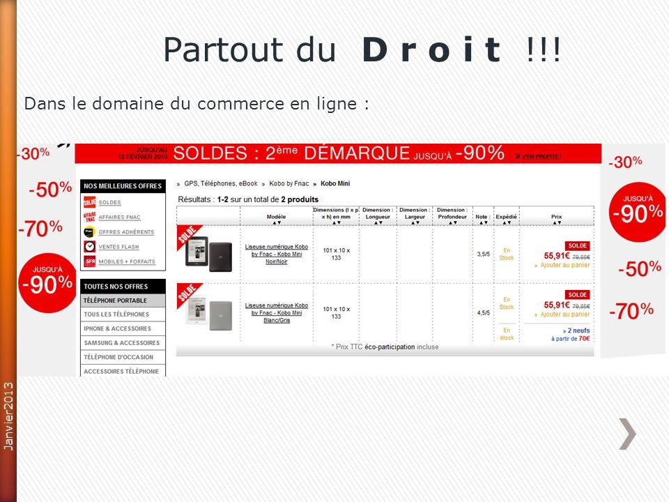 Partout du D r o i t !!! Dans le domaine du commerce en ligne :
