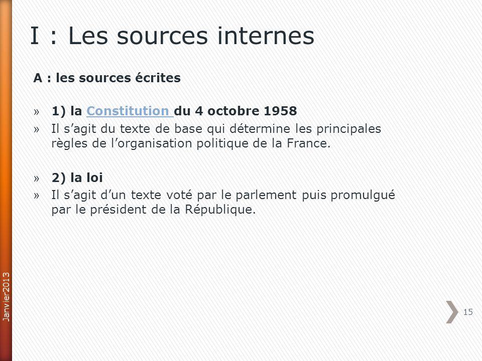 I : Les sources internes