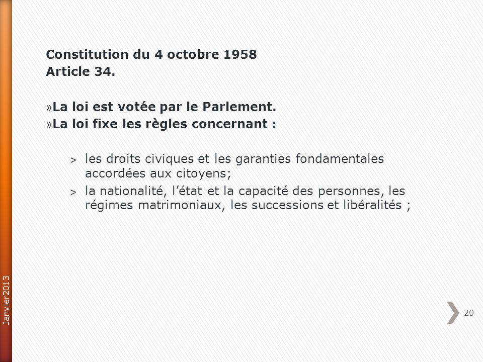Constitution du 4 octobre 1958 Article 34.