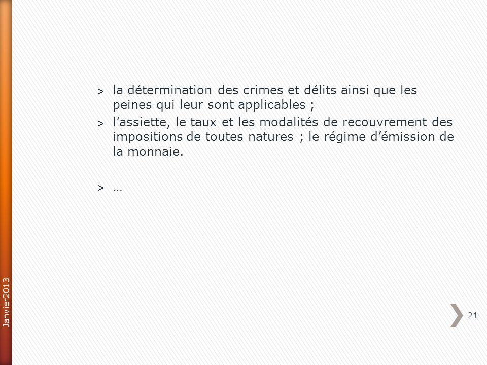 la détermination des crimes et délits ainsi que les peines qui leur sont applicables ;
