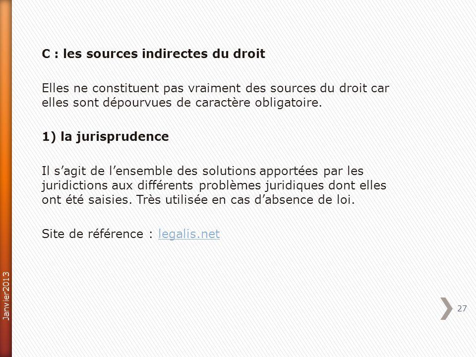C : les sources indirectes du droit