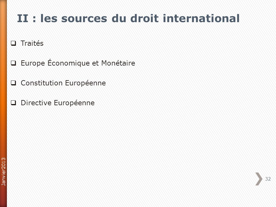 II : les sources du droit international