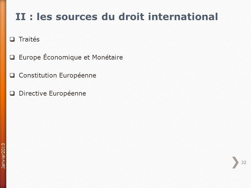 II : les sources du droit international