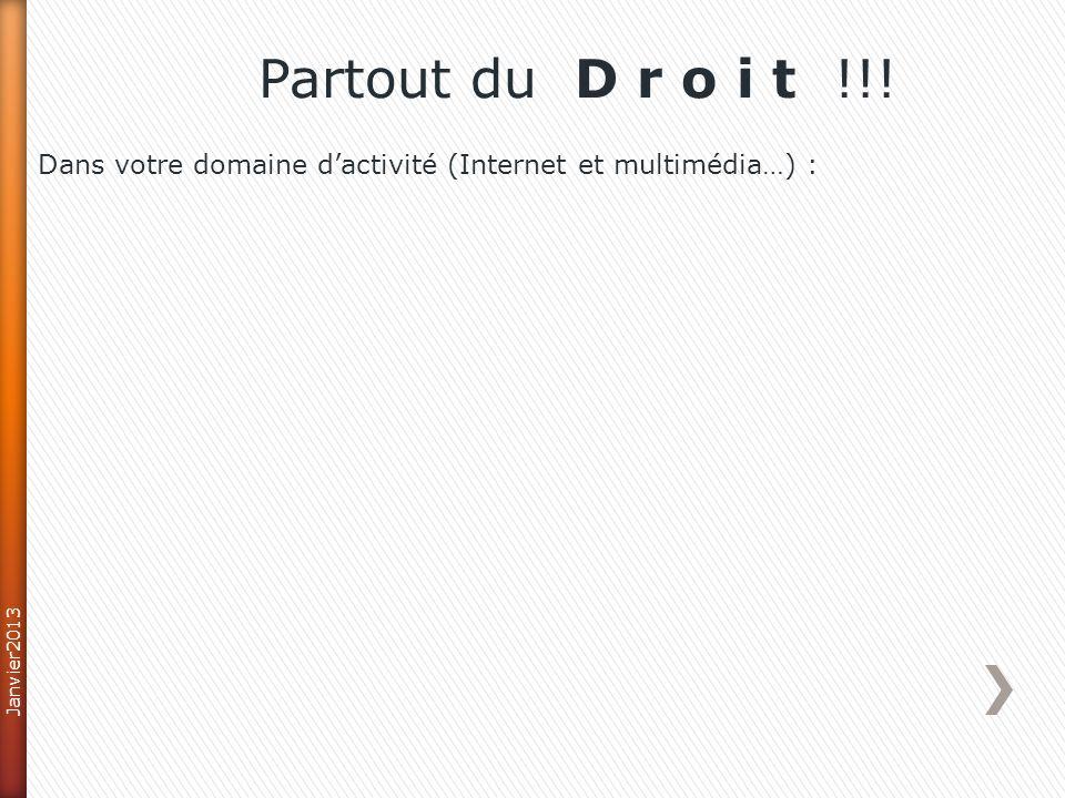 Partout du D r o i t !!! Dans votre domaine d'activité (Internet et multimédia…) : Janvier2013