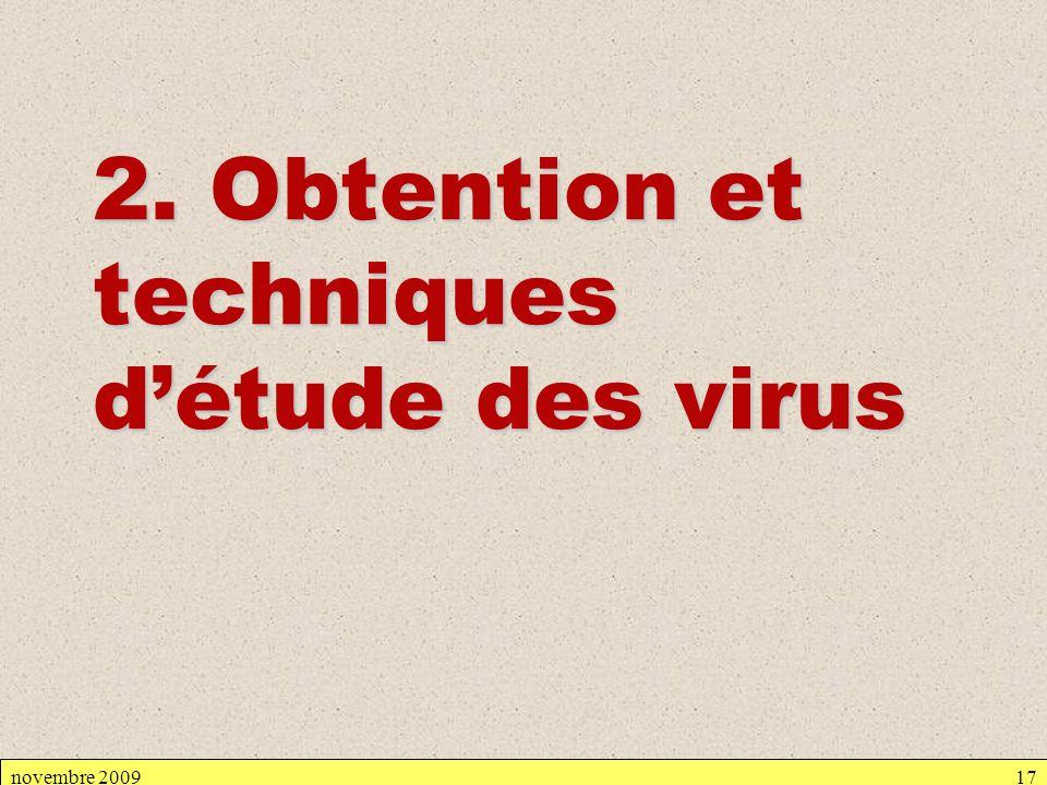 2. Obtention et techniques d'étude des virus