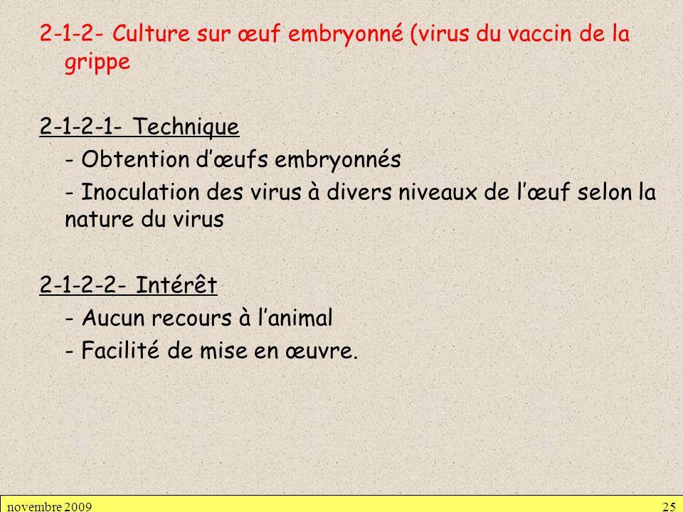 2-1-2- Culture sur œuf embryonné (virus du vaccin de la grippe 2-1-2-1- Technique - Obtention d'œufs embryonnés - Inoculation des virus à divers niveaux de l'œuf selon la nature du virus 2-1-2-2- Intérêt - Aucun recours à l'animal - Facilité de mise en œuvre.